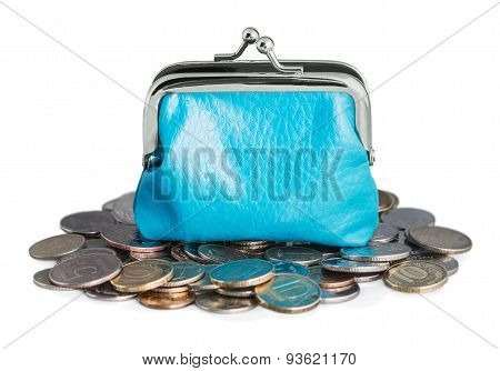 Blue Purse And Coins Isolated