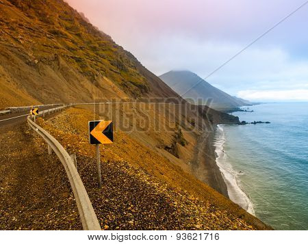 Coastline road in Iceland