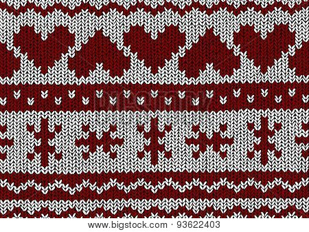 Norwegian Pattern - Hearts - Christmas Vector