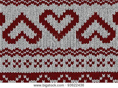 Norwegian Pattern - Hearts - Christmas Vector