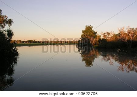 Smooth mirror like waters at Yellow water National Park