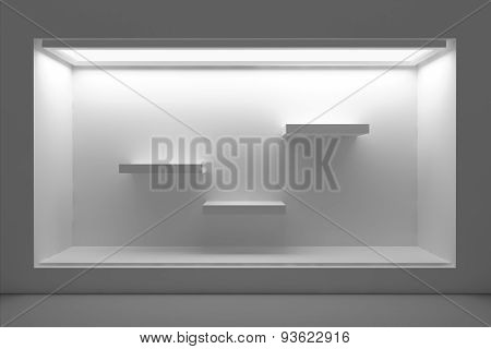 Empty storefront or podium with lighting and a big window