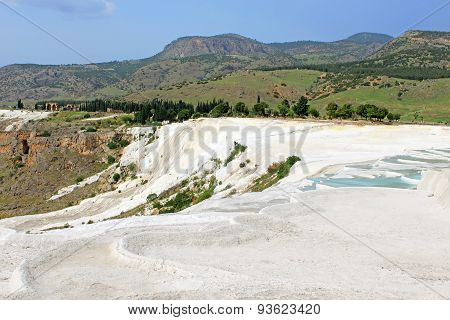 Famous Travertine Terraces In Pamukkale (ancient Hierapolis), Anatolia, Turkey