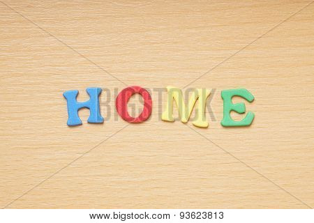 home in foam rubber letters