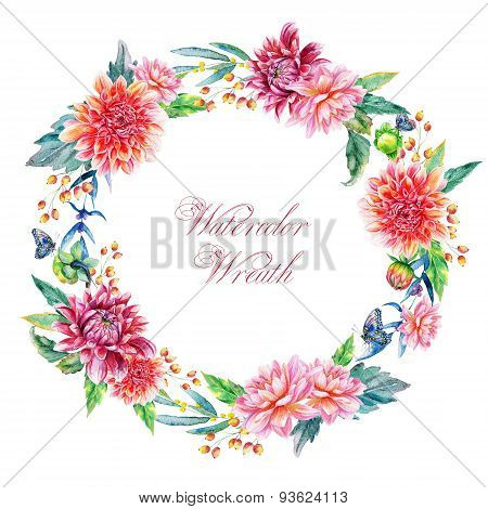 Watercolor Wreath With Red Dahlias.