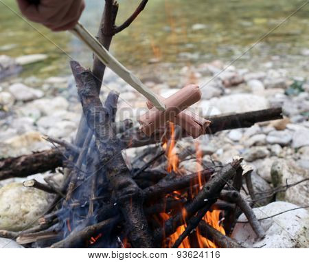 Roasted Sausage Cooked In Fire During The Summer Camp