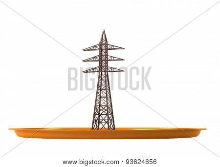 Electric power tower  on the plate