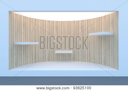 Empty circle storefront or podium with lighting and a big window