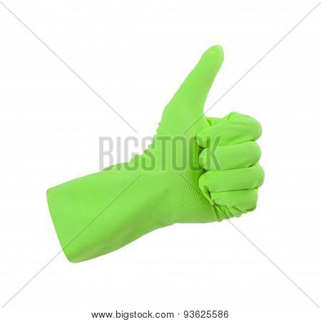 Green Glove For Cleaning Show Thumbs Up