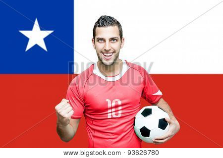 Chilean fan celebrates on Chile flag background