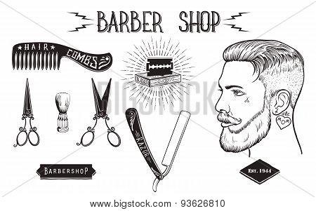 Barber shop vintage set.