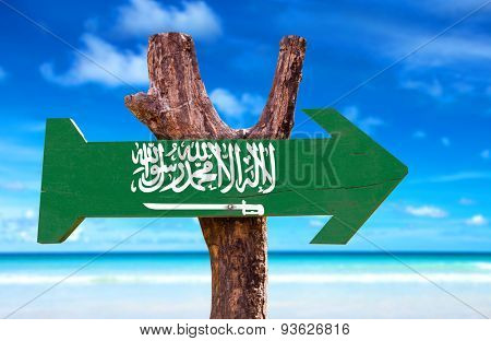 Saudi Arabia flag wooden sign with Red Sea background