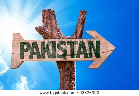 Pakistan wooden sign with a beautiful day