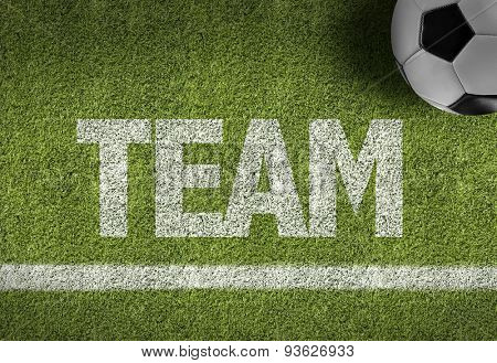 Soccer field with the text: Team