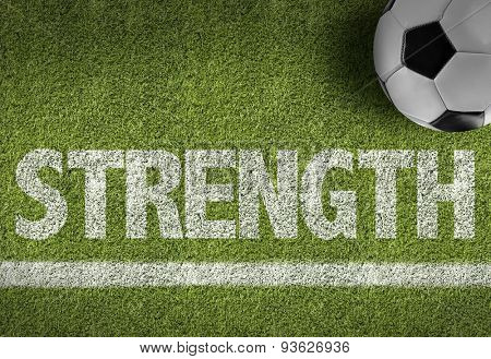 Soccer field with the text: Strength