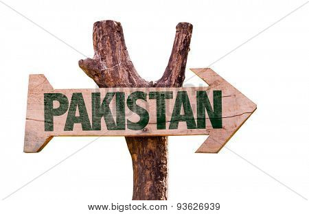Pakistan wooden sign isolated on white background