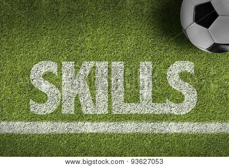 Soccer field with the text: Skills