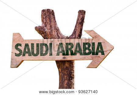 Saudi Arabia wooden sign isolated on white background