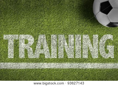 Soccer field with the text: Training