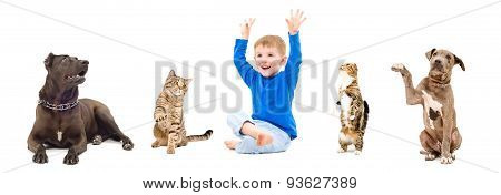 Group of a cheerful pets and child