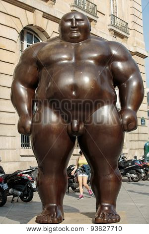 PARIS, FRANCE - SEPTEMBER 8, 2014: A mongolian statue in standing position by Shen Hong Biao located near the Pantheon