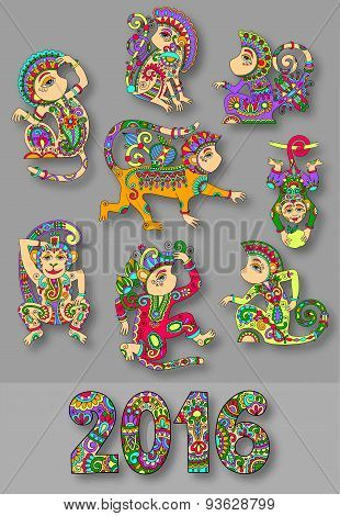 set of different colors decorative monkey - chinese symbol 2016