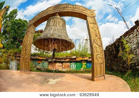 Giant bell at Tashiding monastery in Sikkim, India