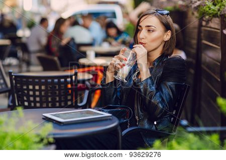 beautiful girl enjoys gadgets
