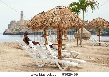 HAVANA,CUBA - JUNE 15:2015 : Art installation resembling a tropical beach at the Havana Biennale