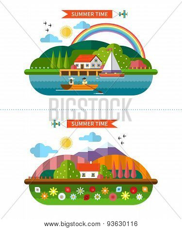 Set of summer landscape backgrounds in flat style