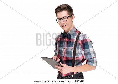 Nerd in glasses and checkered shirt