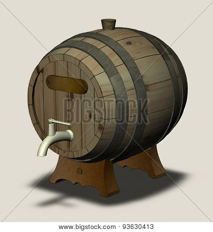 Wooden Barrel With A Tap On The Legs And A Sign