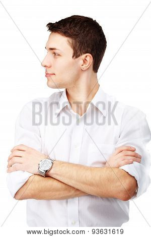 Profile Portrait Of Handsome Man On White Background