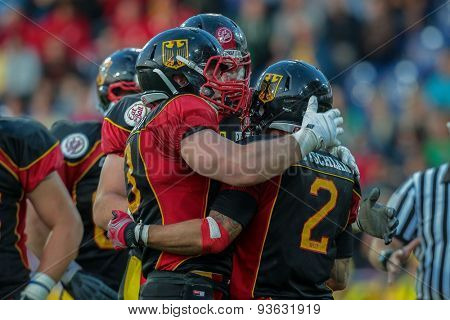 ST. POELTEN, AUSTRIA - JUNE 3, 2014: RB Danny Washington (#2 Germany) celebrates a touchdown during the Football EC European Championchip in St Poeltne, Austria.