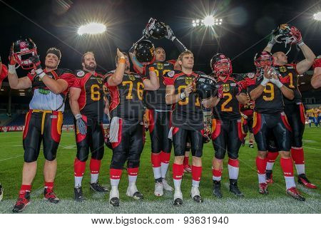 ST. POELTEN, AUSTRIA - JUNE 3, 2014: Team Germany celebrates their win over Sweden during the Football EC European Championchip in St Poelten, Austria.