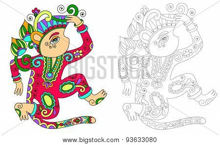 coloring book page for adults with unusual fantastic creature