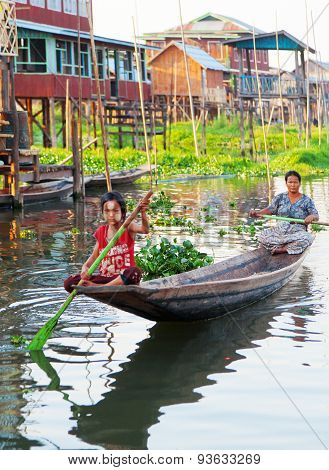 Local People In Inle Lake, Myanmar