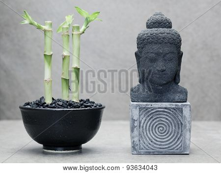 three lucky bamboos beside buddha statue