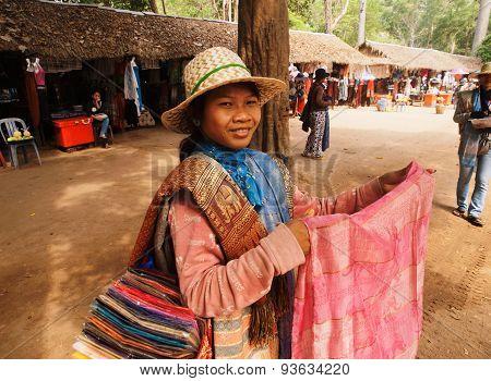 Cambodian Scarf Seller, Angkor Wat