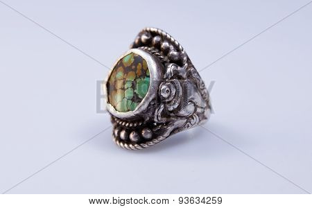 tibetan silver ring with turquoise semi precious stone