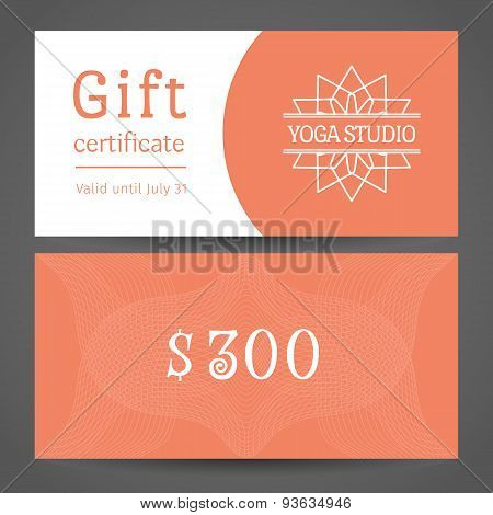 Yoga Studio Vector Gift Certificate Template