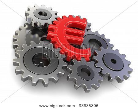Cogwheel euro (clipping path included)