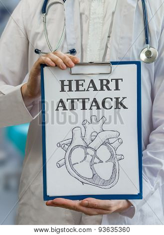 Doctor Holds Clipboard With Drawing To Explain Heart Attack