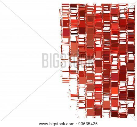 Red Fragmented Abstract Pattern Over White