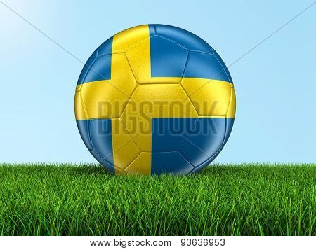 Soccer football with Swedish flag on grass