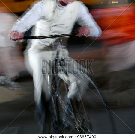 Abstract Moving Bike Man On Blurred Background
