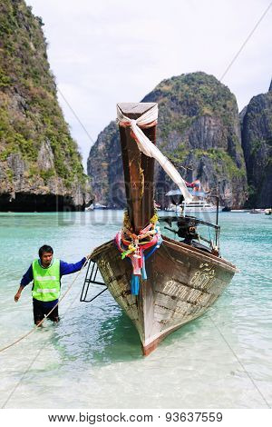 Long Tail Boat On Koh Phi-phi, Thailand