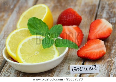 Get well card with lemon and strawberries