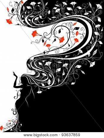 Woman Silhouette With Flowers.