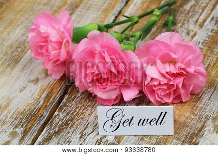 Get well card with pink carnation flowers